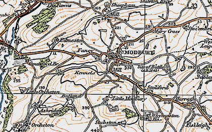 Old map of Modbury in 1919