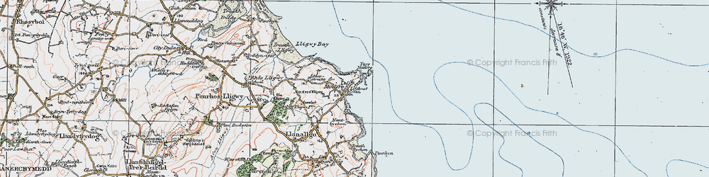 Old map of Ynys Moelfre in 1922