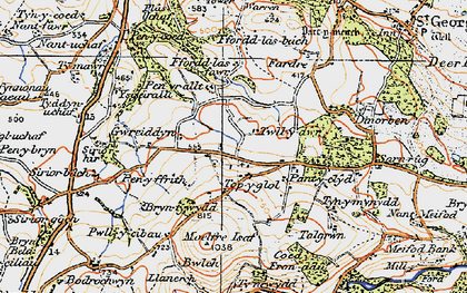 Old map of Ysgeirallt in 1922