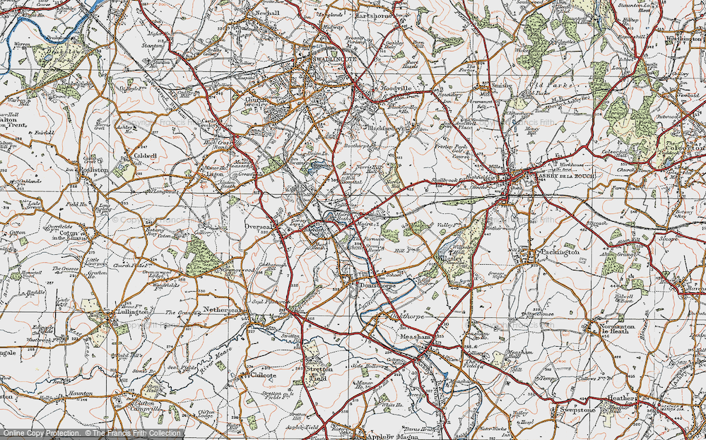 Old Map of Historic Map covering Ashby-de-la-Zouch Canal in 1921