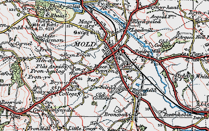 Old map of Mold in 1924