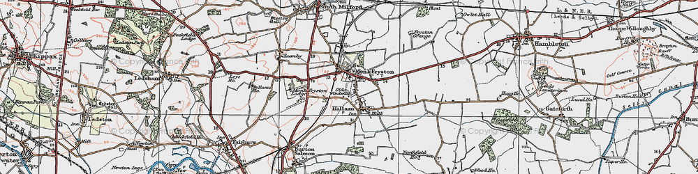Old map of Monk Fryston in 1924