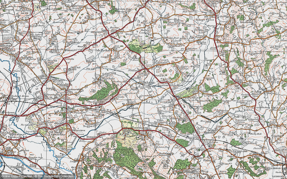Old Map of Historic Map covering Woodmanton in 1920