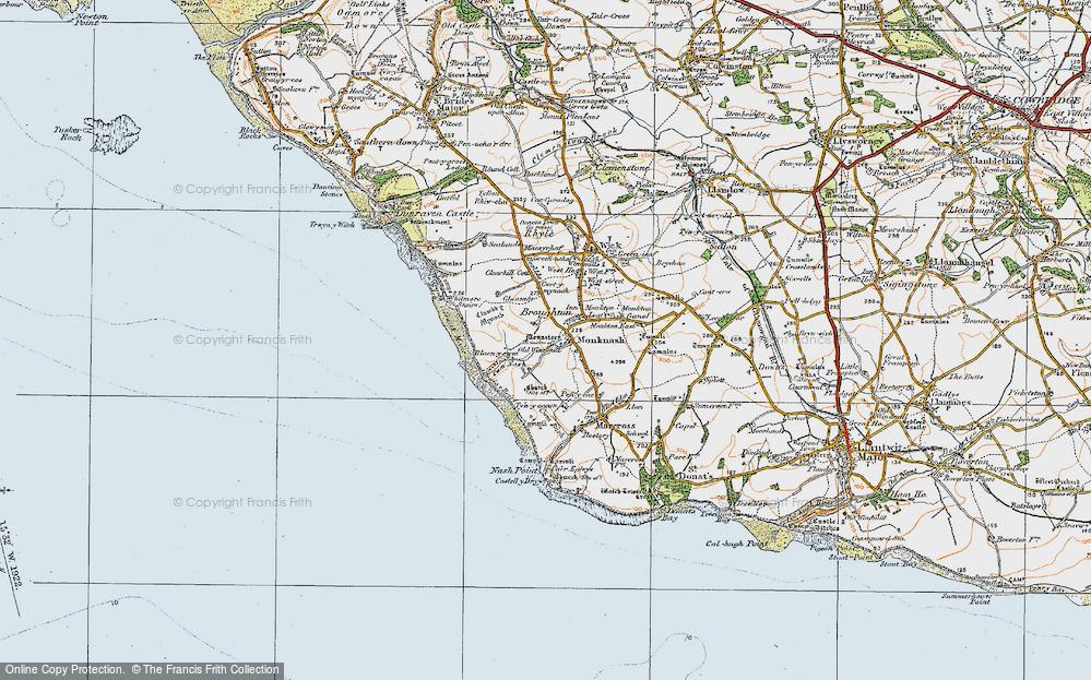 Old Map of Monknash, 1922 in 1922
