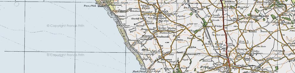 Old map of Monknash in 1922