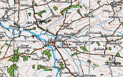 Old map of Wood Barton in 1919
