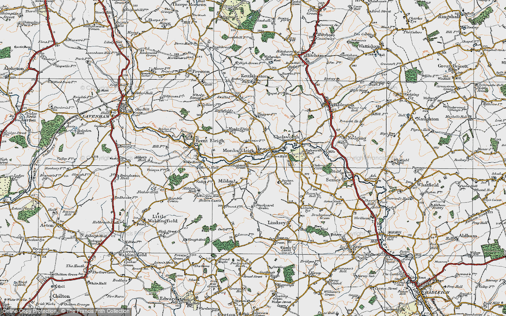 Old Map of Monks Eleigh, 1921 in 1921