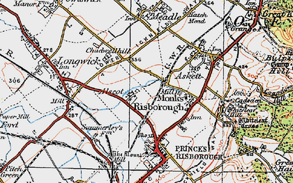 Old map of Monks Risborough in 1919