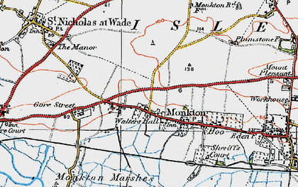 Old map of Monkton in 1920