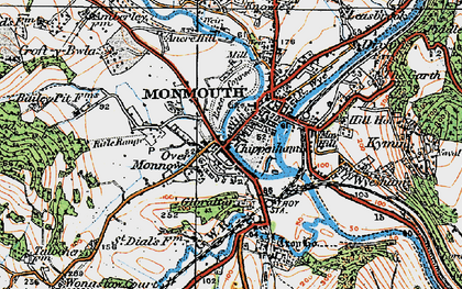 Old map of Monmouth in 1919