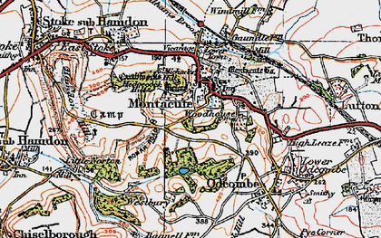 Old map of Montacute in 1919