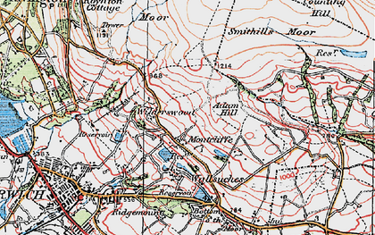 Old map of Adam Hill in 1924