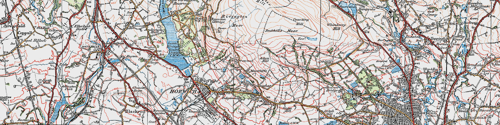 Old map of Winter Hill in 1924
