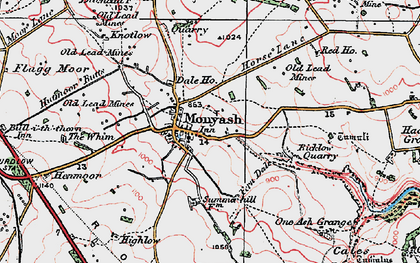 Old map of Monyash in 1923