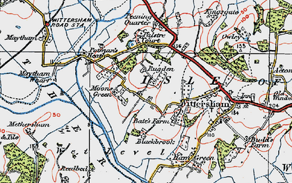 Old map of Wittersham Manor in 1921