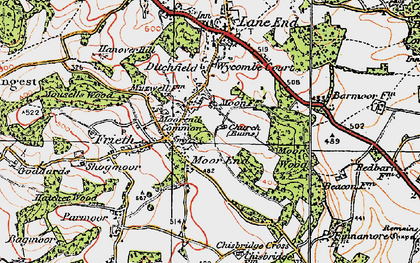 Old map of Moor End in 1919