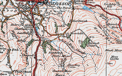 Old map of Within Clough in 1923