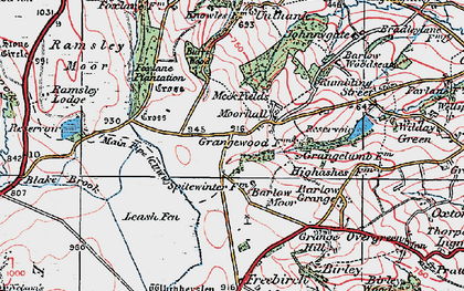 Old map of Moorhall in 1923