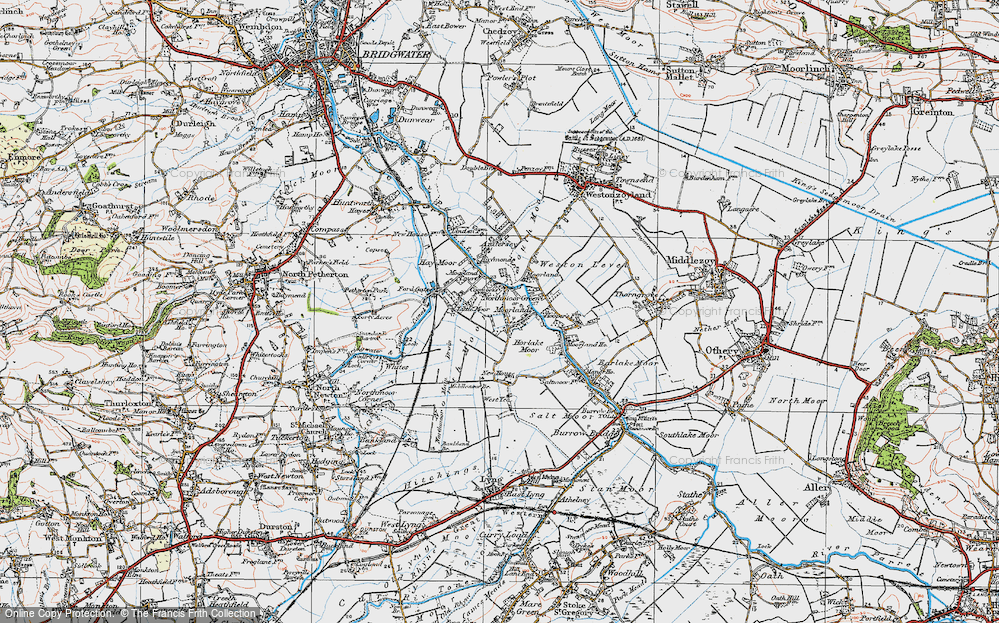 Old Map of Moorland, 1919 in 1919