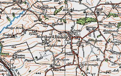 Old map of Bishopsleigh in 1919