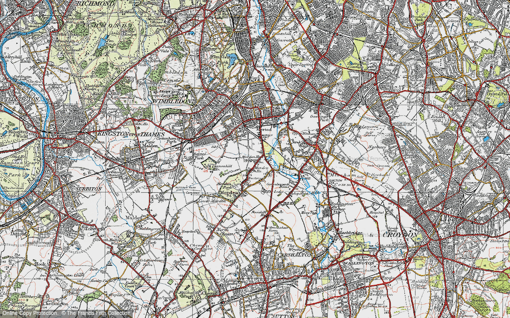 Old Map of Morden, 1920 in 1920