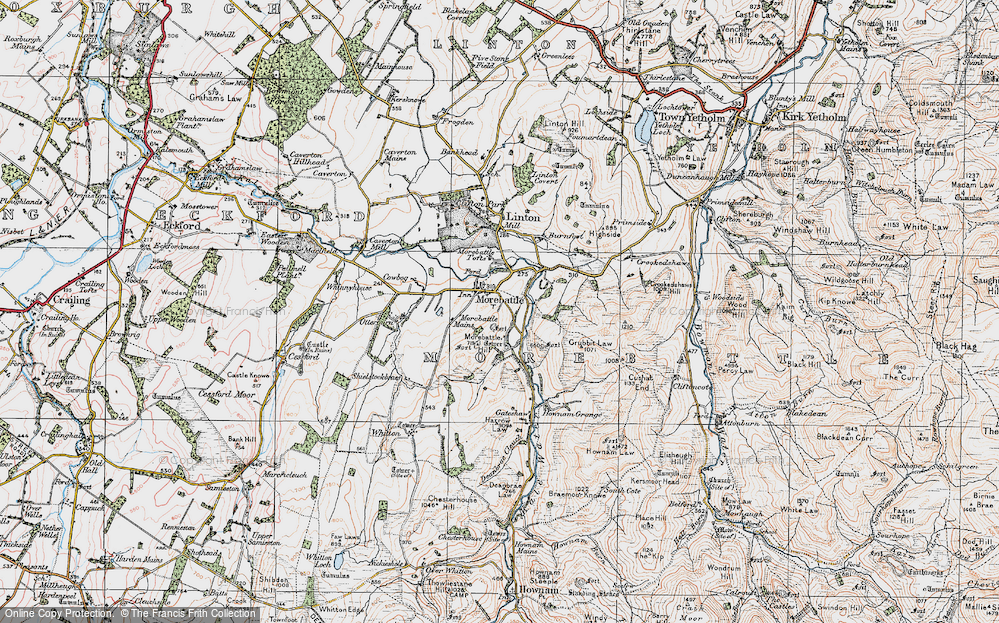 Old Map of Historic Map covering Linton Burnfoot in 1926