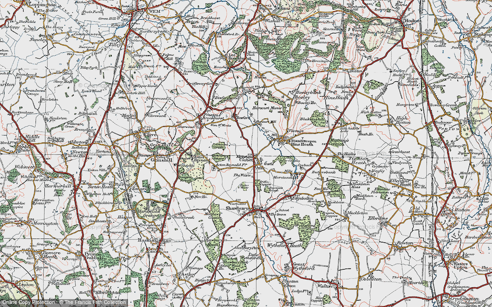 Old Map of Historic Map covering Acton Lea in 1921