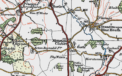 Old map of Moreton Corbet in 1921