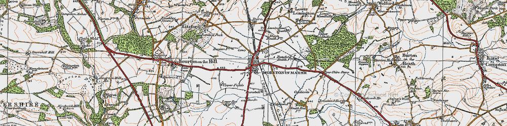 Old map of Moreton-in-Marsh in 1919