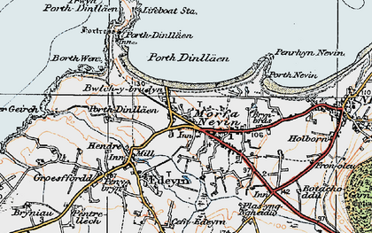 Old map of Porth Dinllaen in 1922