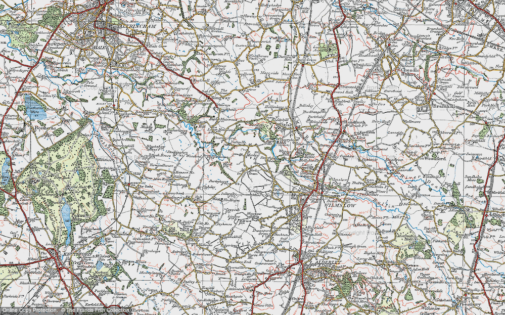 Old Map of Historic Map covering Lindow Moss in 1923