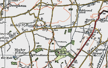 Old map of Wymondham College in 1921