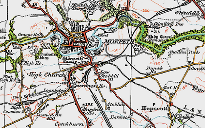 Old map of Morpeth in 1925