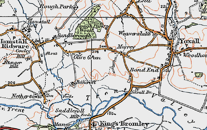 Old map of Yoxall Br in 1921