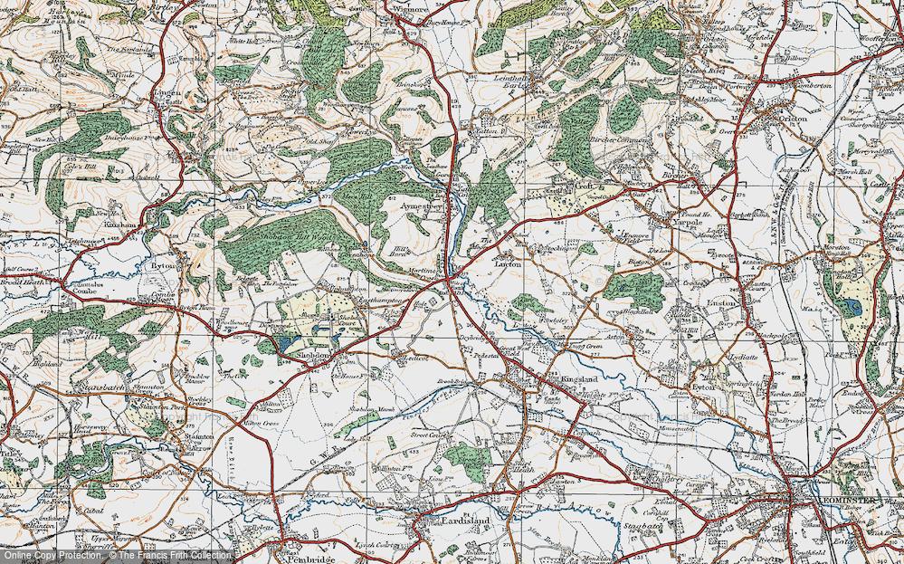 Old Map of Mortimer's Cross, 1920 in 1920