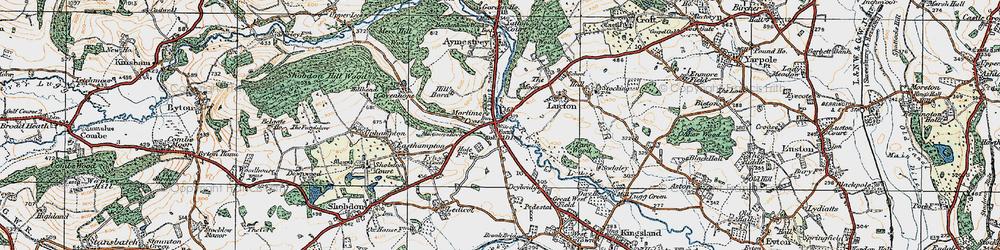 Old map of Mortimer's Cross in 1920