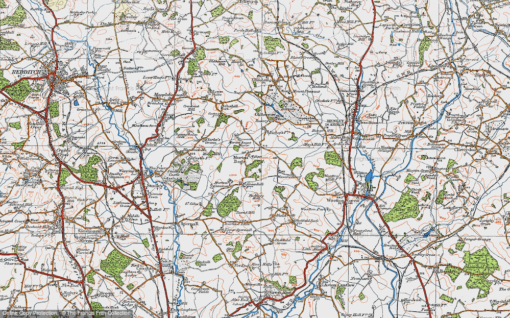 Old Map of Historic Map covering Bannam's Wood in 1919