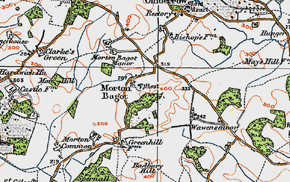 Old map of Bannam's Wood in 1919