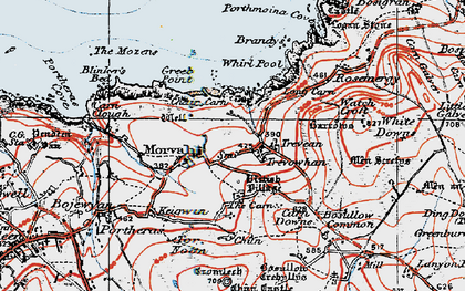 Old map of Morvah in 1919