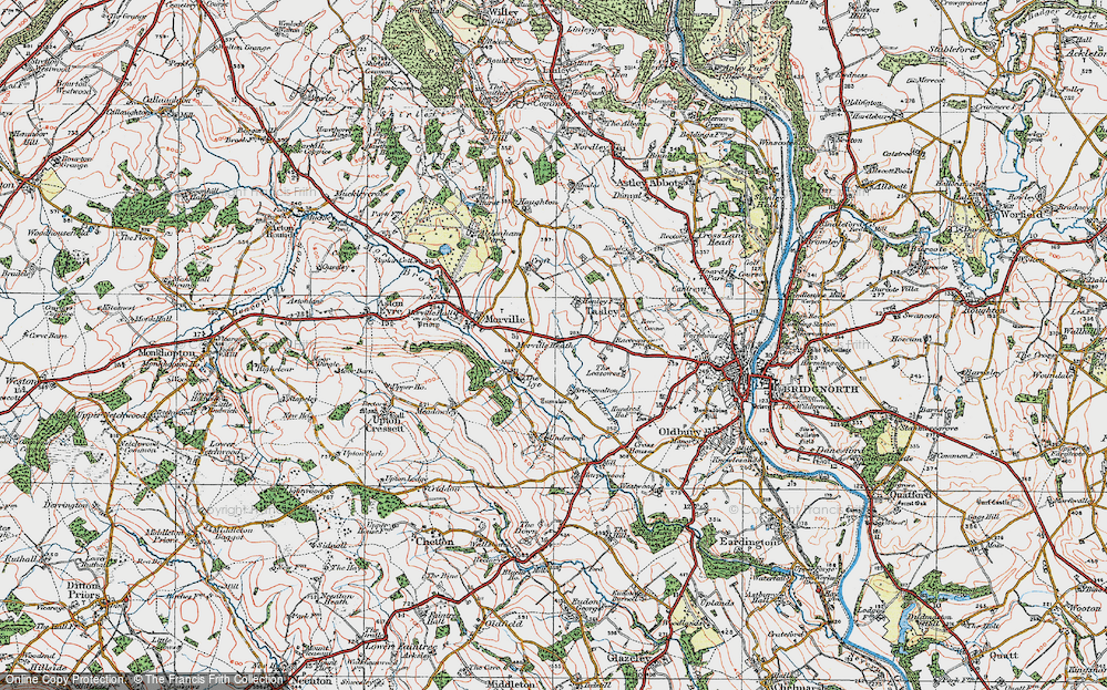 Old Map of Historic Map covering Tiddle Brook in 1921