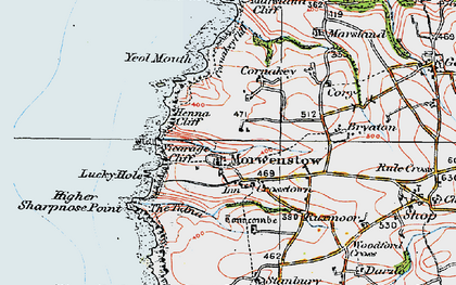 Old map of Morwenstow in 1919