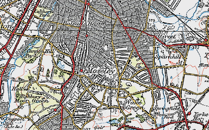 Old map of Moseley in 1921