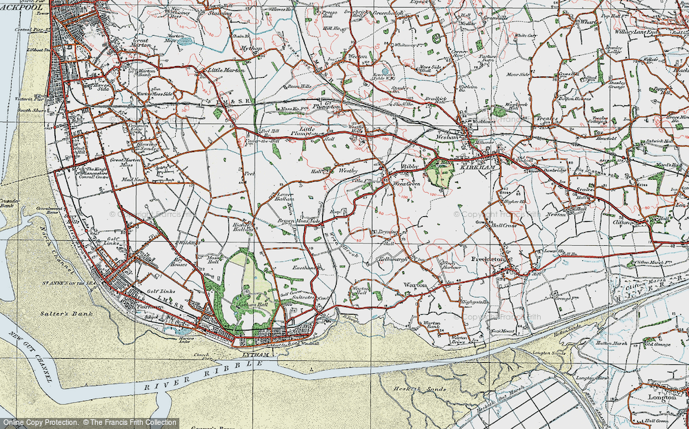 Old Map of Historic Map covering Wrea Brook in 1924