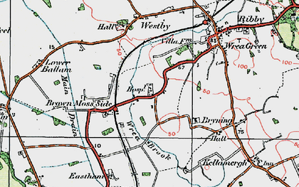 Old map of Wrea Brook in 1924