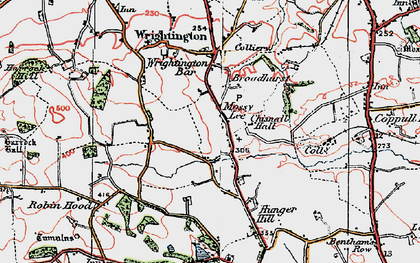Old map of Wrightington in 1924