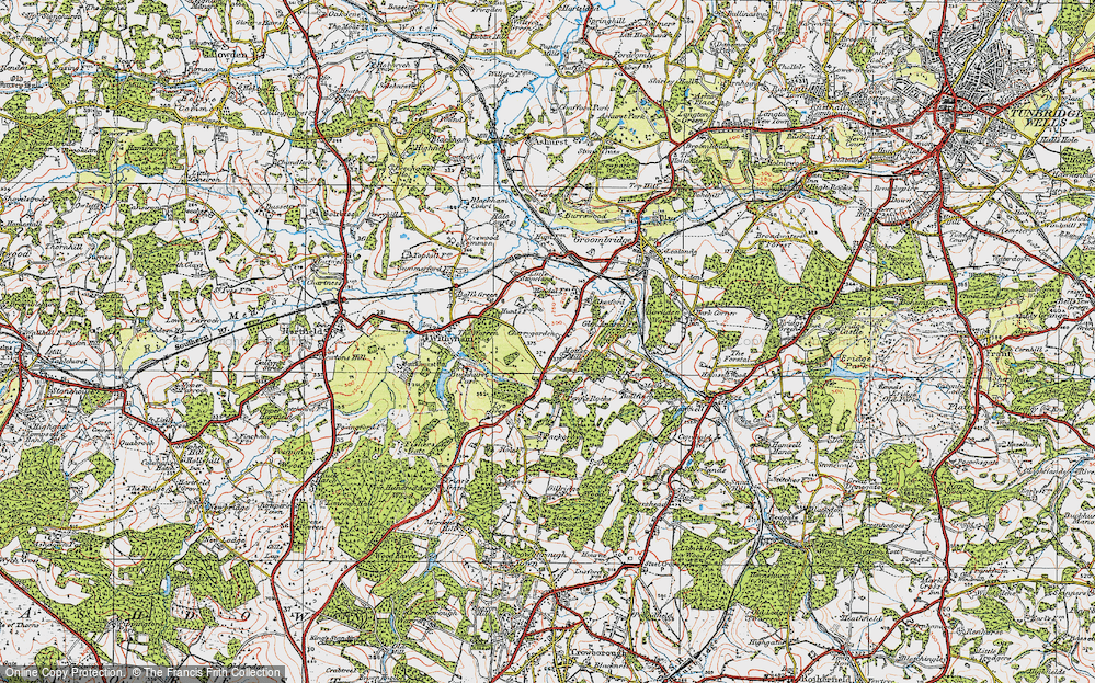 Old Map of Historic Map covering Leyswood in 1920
