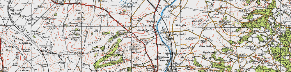 Old map of Moulsford in 1919