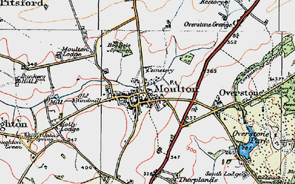 Old map of Moulton in 1919
