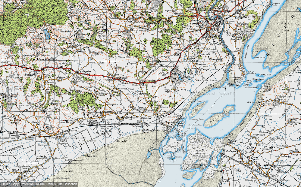 Old Map of Historic Map covering Ballan Moor in 1919