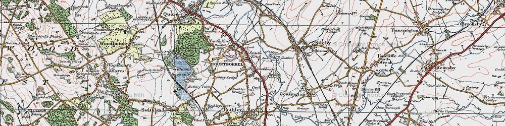 Old map of Mountsorrel in 1921